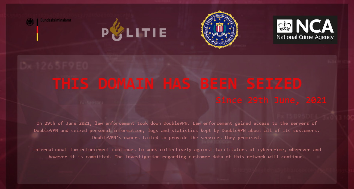 Dutch police takes down DoubleVPN, a service used by cybercrime groups